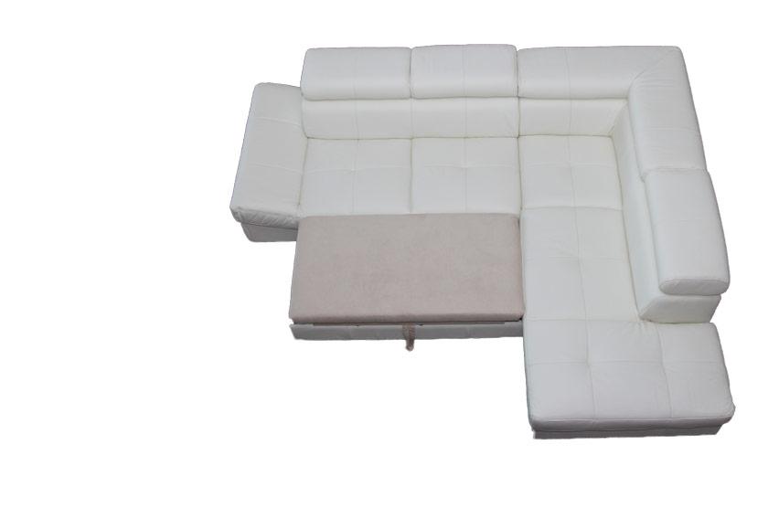 Műbőr ülőgarnitúra fehér színben, ágyazható funkcióval