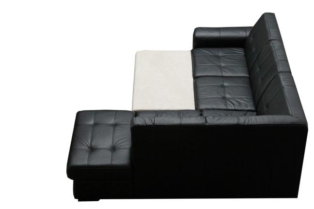 LF1604 fekete bőr ülőgarnitúra, ágyazható, ágyneműtartós