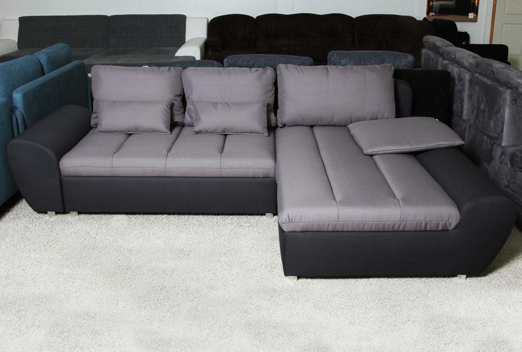 L-alakú ülőgarnitúra ágyazható és ágyneműtartós funkciókkal szerelve.